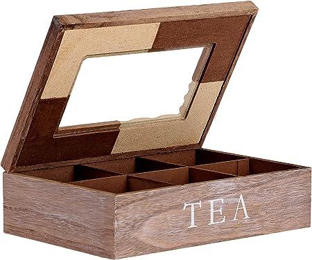 Ecoix - Caja para té con 6 Compartimentos (Madera): Amazon.es: Hogar