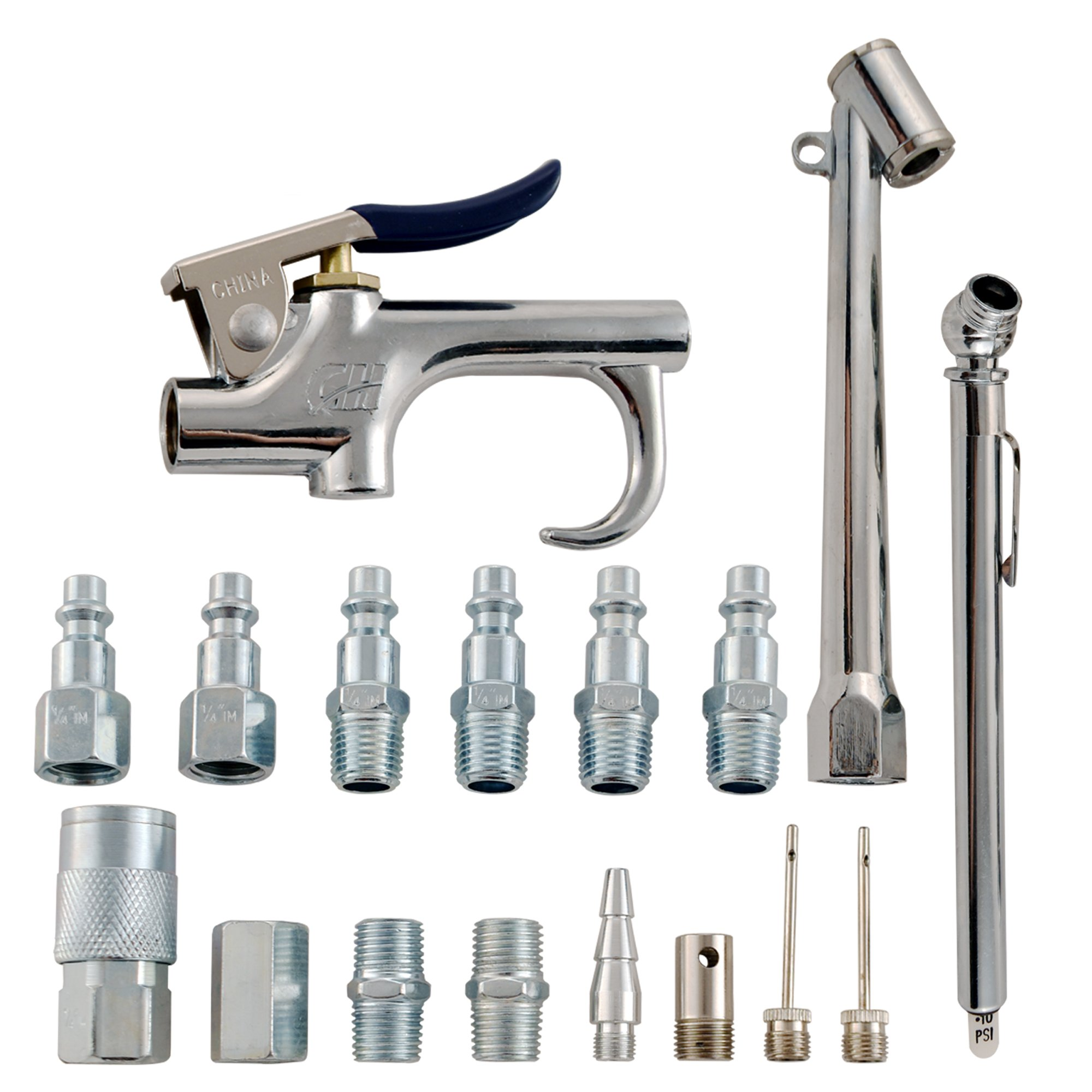 Accessory Kit, 17 Piece Compressor Inflation Kit, with Blow Gun, Air Chucks, & Inflation Needles (Campbell Hausfeld MP284701AV)