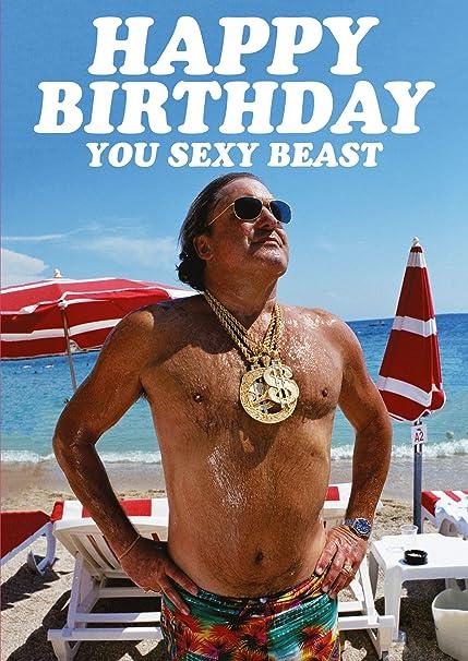Carte D Anniversaire Amusante Happy Birthday You Sexy Beast Amazon Fr Fournitures De Bureau