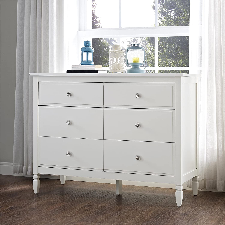 Amazoncom Dorel Living Vivienne 6Drawer Dresser White Kitchen