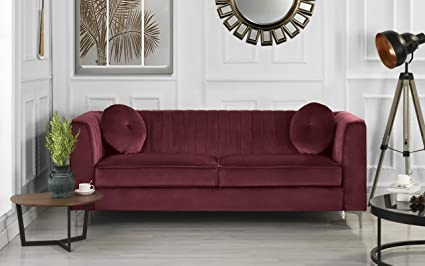 DIVANO ROMA FURNITURE Classic and Traditional Living Room Marilyn Velvet  Sofa with Tufted Accent Pillows (Red)