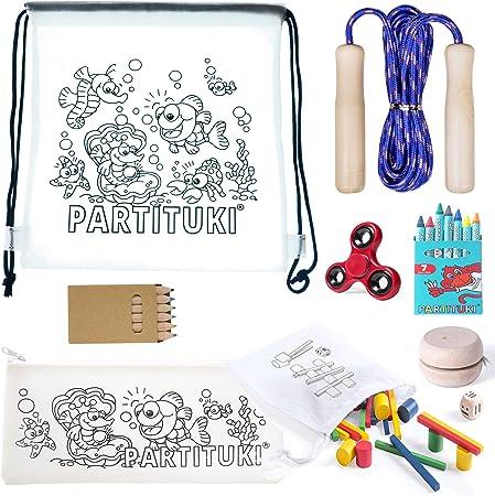 Partituki Pack Juegos Infantiles y de Colorear Incluye: 7 Ceras, 6 Lápices, Comba de Saltar, Yoyo de Madera, Estuche y Mochila para Colorear, Finger Spinner y Juego de Madera de 33 Piezas: