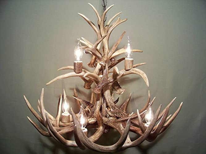 Amazon real whitetail deer antler chandelier 7 lights two real whitetail deer antler chandelier 7 lights two tiers shed antler art elk aloadofball Gallery