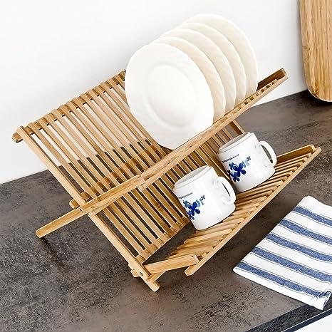 Escurreplatos de bambú, 42 x 35 cm, 2 niveles, plegable, soporte para