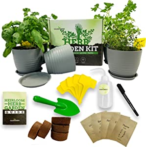 Indoor Herb Garden Starter Kit - Complete Window Gardening Kit with Planter Pots, Coco Soil Pellets, Labels, Marker - Non-GMO, Heirloom Seeds: Basil, Cilantro, Chives, Parsley, Thyme