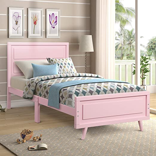 Amazon Com Twin Size Bed Frame Wood Platform Bed With Headboard