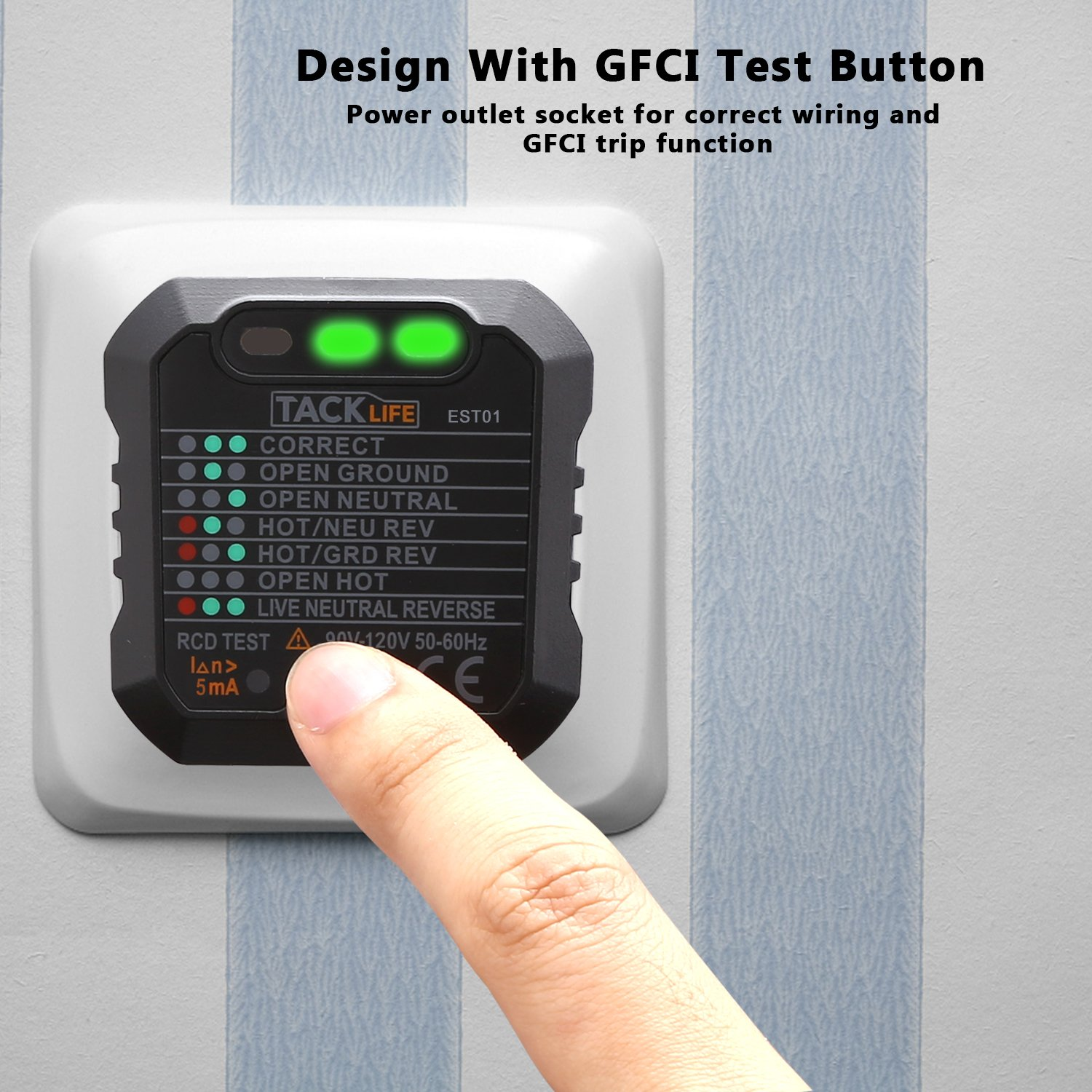 Tacklife EST01 Advanced GFCI Outlet Tester Power Socket Automatic ...