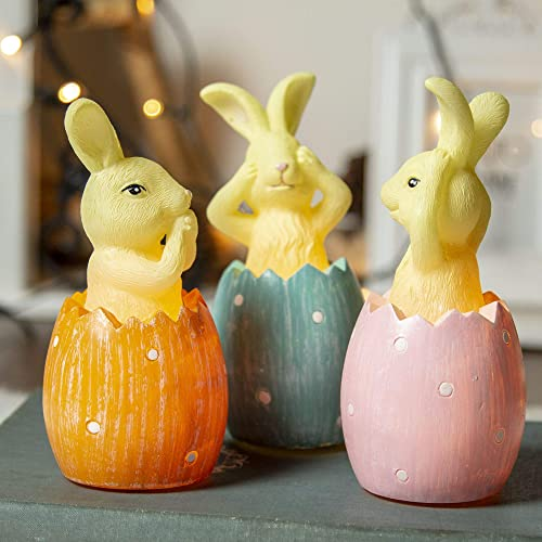 EAMBRITE Easter Centerpiece Real Wax Bunny Candle Sets Rabbit Figurines Tabletopper Accessories
