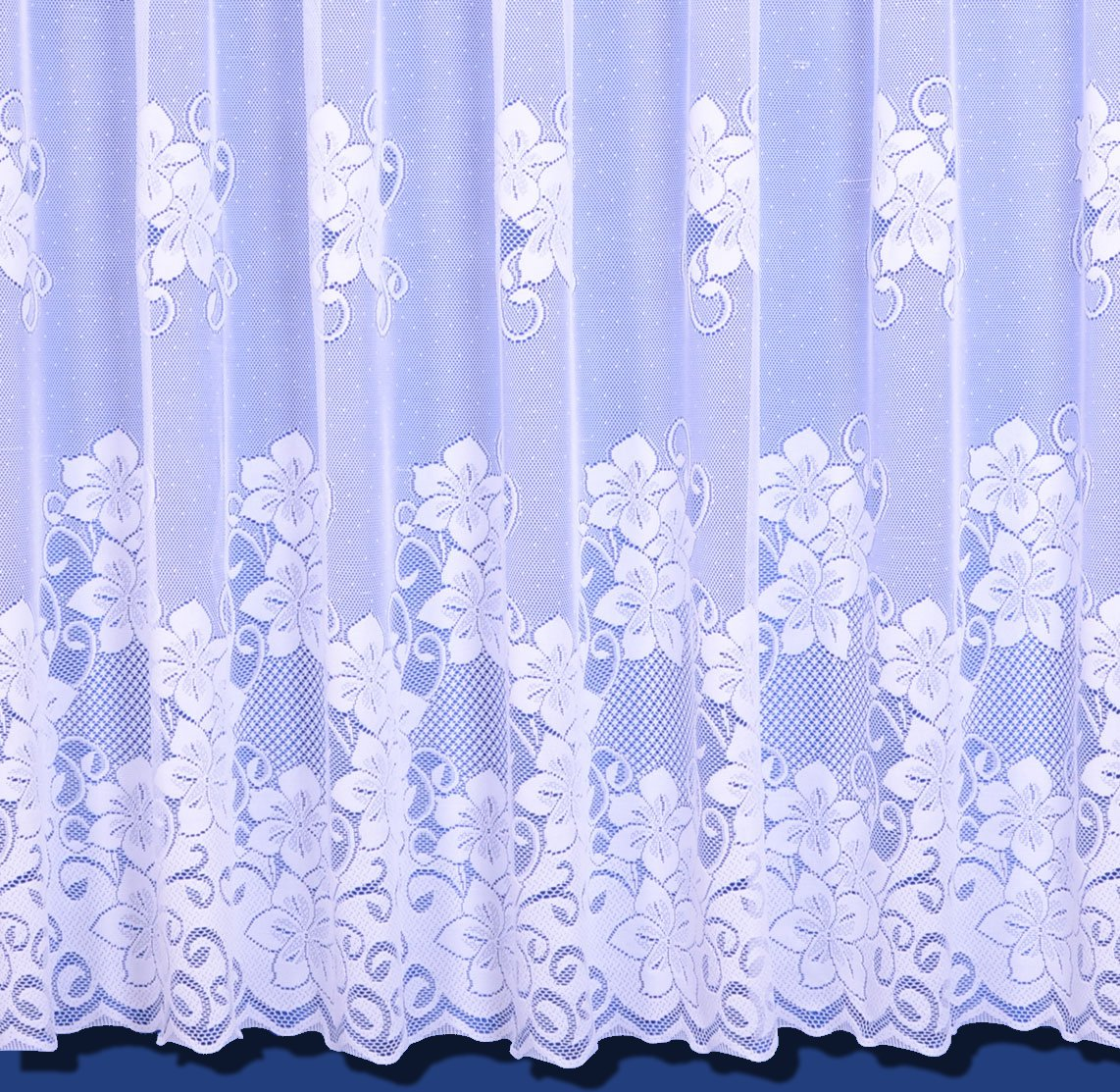 Heidi Heavyweight Floral Scalloped Net Curtain In White - Sold By The Metre - 36