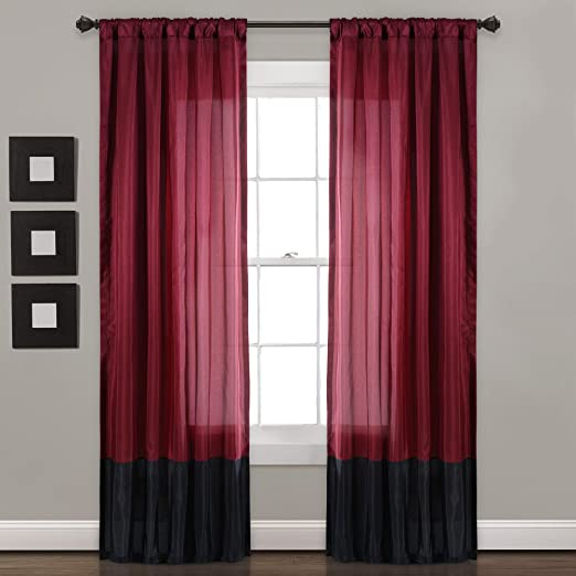 Amazon Com Lush Decor Milione Fiori Window Curtains Panel Set For Living Dining Room Bedroom Pair 84 X 42 Red Black Home Kitchen