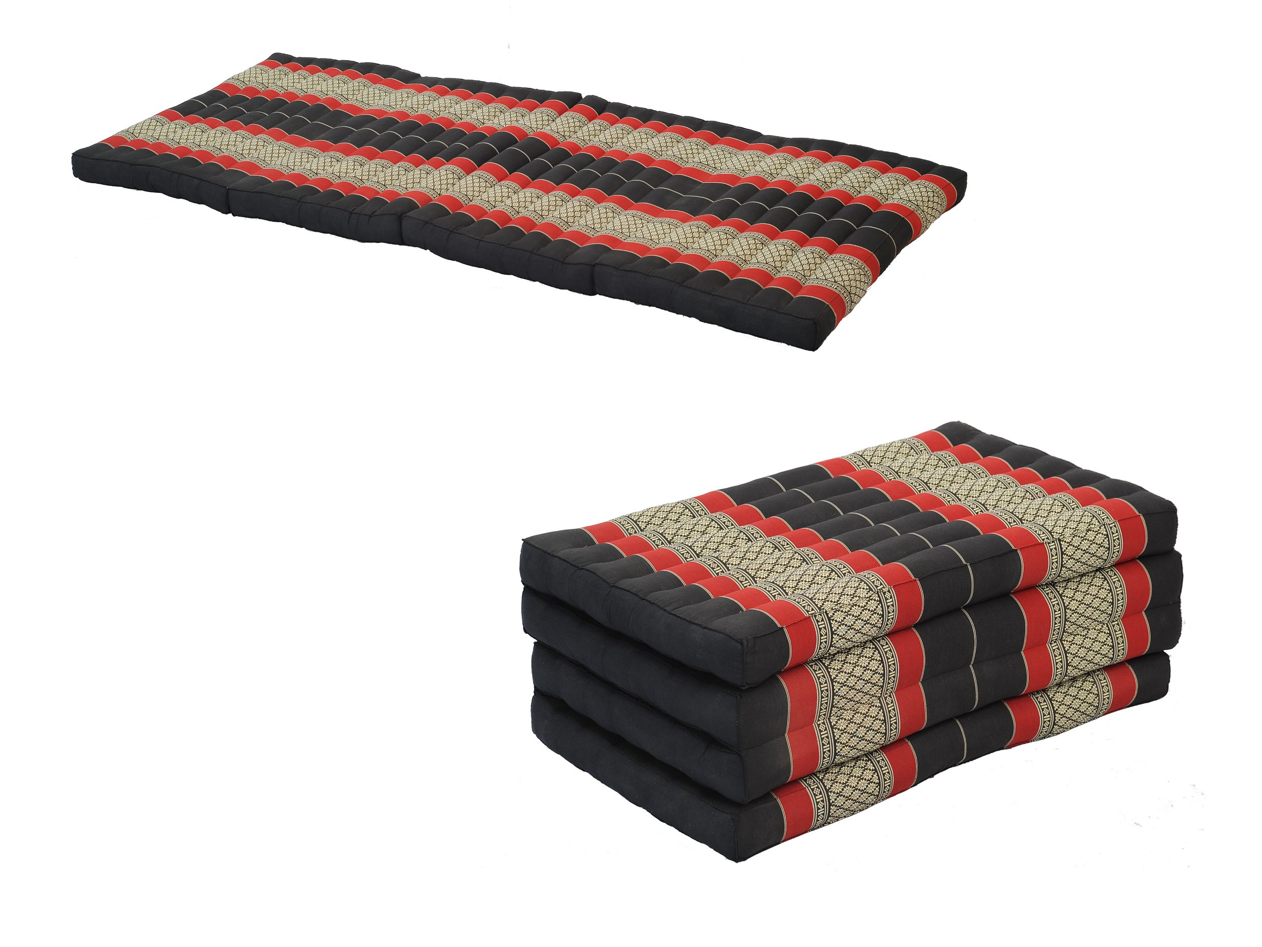 Pack: 2x 4-Fold Mattress (79x32inches), Traditional Thai Design BlackRed, (100% Kapok Filling)
