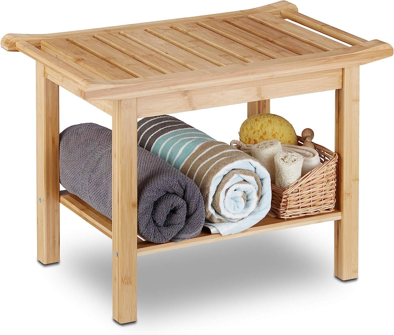 Relaxdays Badezimmer Bank Bambus, Sitzbank Bad, Ablage Badhocker Holz,  HxBxT: 12 x 12 x 12 cm, Badezimmermöbel, natur