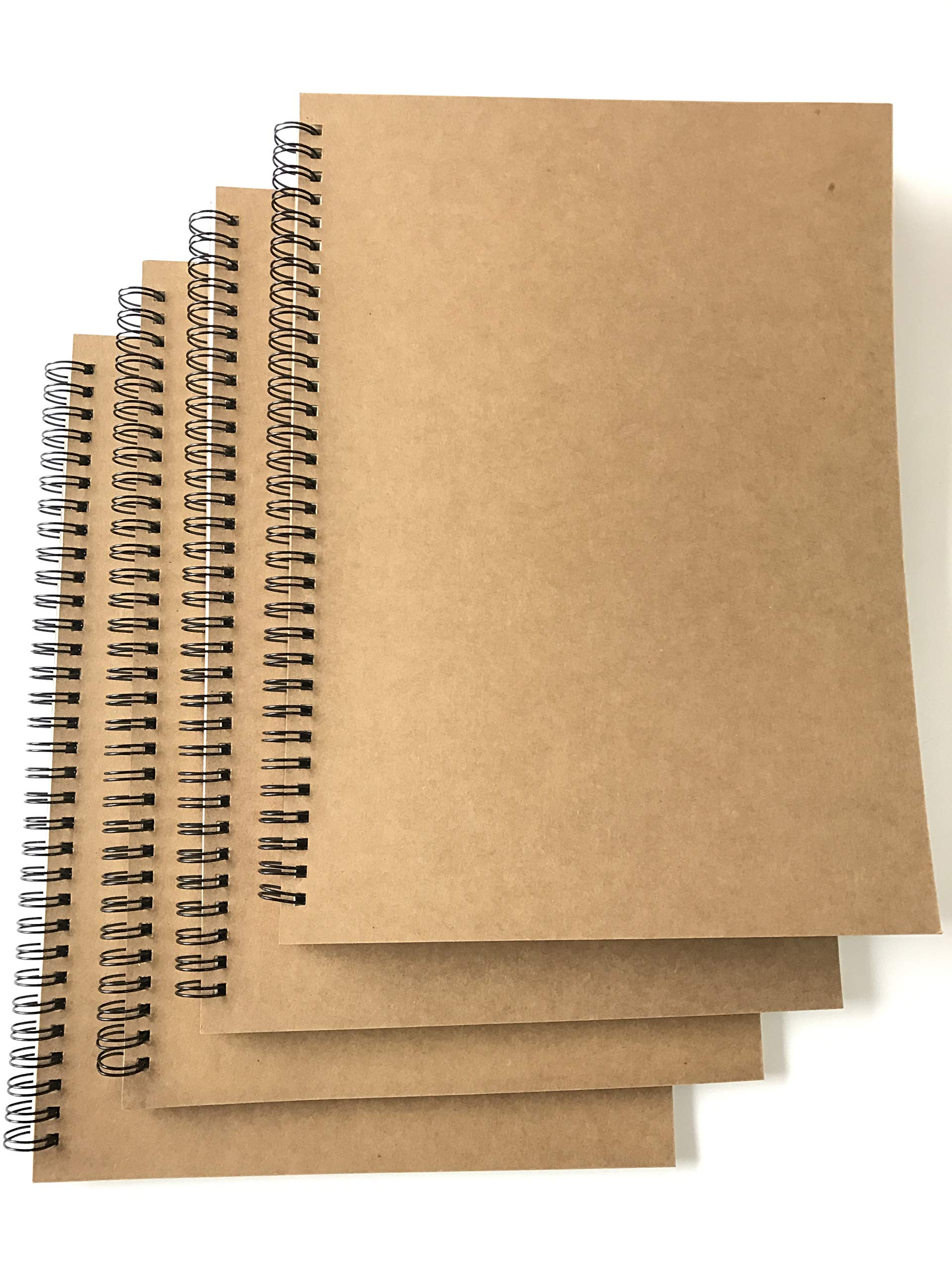 VEEPPO A4/B5 Big Thick Spiral Bound Notebooks and Journals Bulk 2/4Pack Blank/Lined Scrapbook Backpack Books 50Sheets/100Pages per Book (A4 Blank-4 Pack)