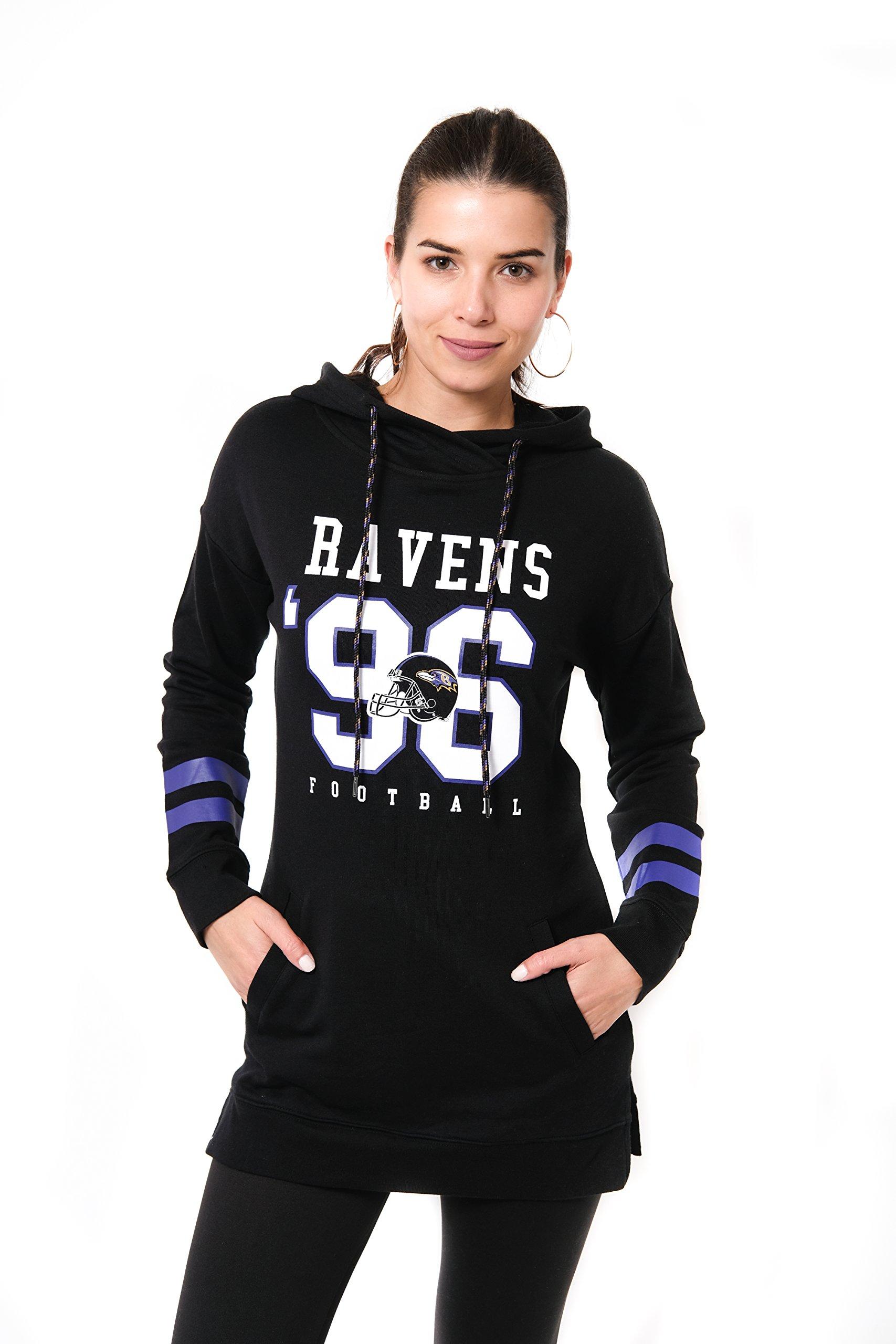 ICER Brands NFL Baltimore Ravens Women's Tunic Hoodie Pullover Sweatshirt Terry, Small, Black