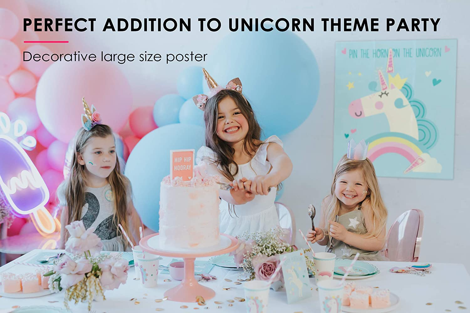 Hugo /& Emmy Pin The Horn on The Unicorn Party Game for Birthday Parties and Sleepovers Ideal for Kids and Toddlers