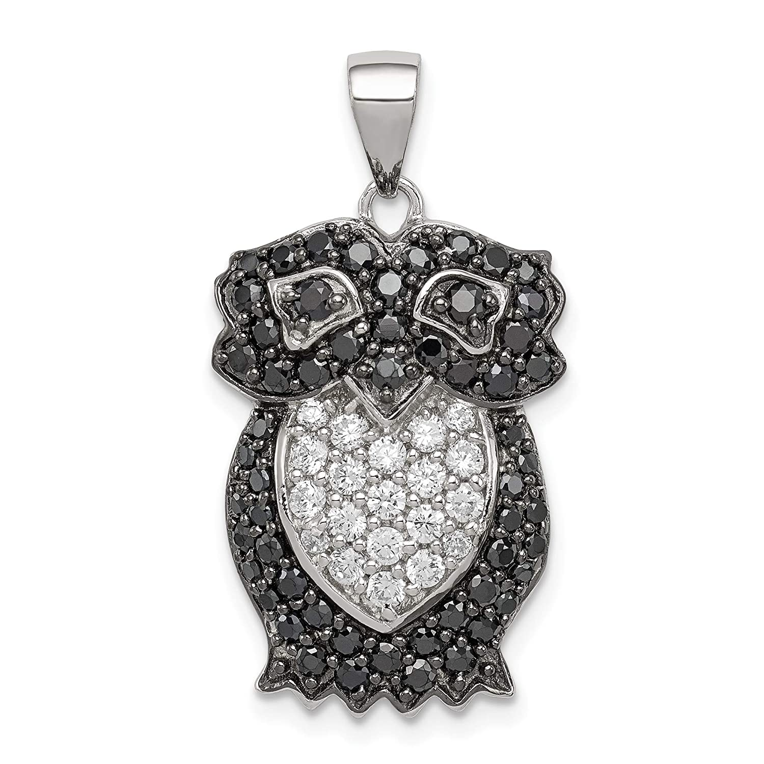 approximately 29 x 15 mm Mireval Sterling Silver Black and White CZ Owl Pendant