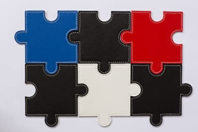 Faux Leather Puzzle Coaster Set With Holder