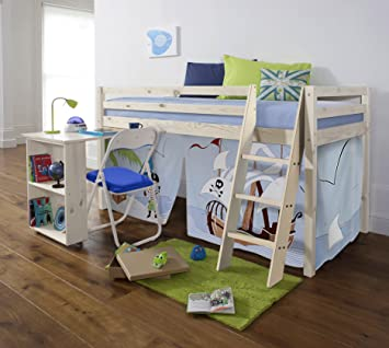 f66ffd586467 Cabin Bed with Slide Midsleeper Kids Pirate Hideaway with Tent ...