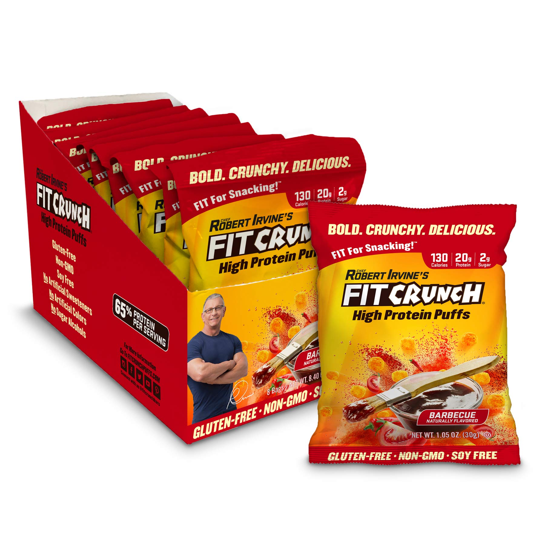 FITCRUNCH Protein Puffs | Designed by Robert Irvine | Keto-Friendly High Protein Puff Snacks | 2g of Sugar, NON-GMO, Gluten Free & 20g of Protein | 240g (8 Bags) (Barbecue)