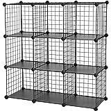 "SONGMICS Metal Wire Cube Storage,9-Cube Shelves Organizer,Stackable Storage Bins, Modular Bookcase, DIY Closet Cabinet Shelf, 36.6""L x 12.2""W x 36.6""H, Black ULPI115H"