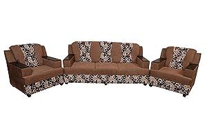Sapna House Upholstered Wooden 3+1+1 Sofa Set (Beige)