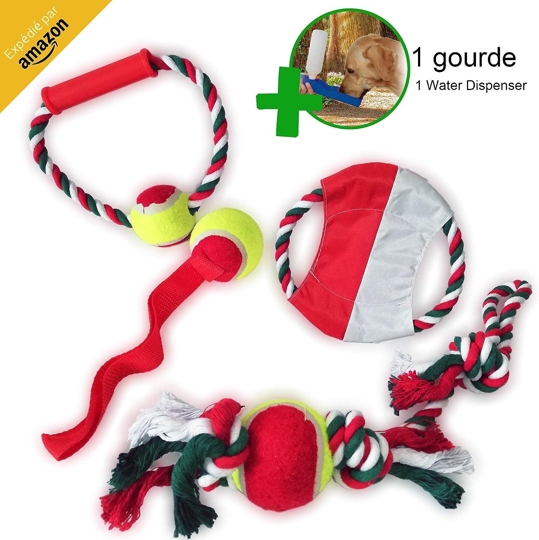 NBK – Juego de pelotas de cuerda con nudo freesbee para cachorro, perro mediano, juguete interactivo para educación