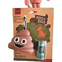 FOFOS Dog Poop Bag Holder Doggy Waste Bag Poop Bag Dispenser for Dog Waste Bags Includes 2 Roll 34 Bags
