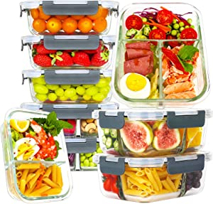 Bayco 9 Pack Glass Meal Prep Containers 3 & 2 & 1 Compartment, Glass Food Storage Containers with Lids, Airtight Glass Lunch Bento Boxes, BPA-Free & Leak Proof (9 lids & 9 Containers) - Grey