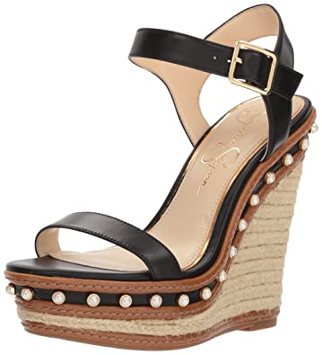 b671b33735 Jessica Simpson Women's Arly Espadrille Wedge Sandal, Black, 8.5 Medium US