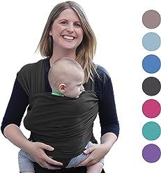 Babytragetuch für Neugeborene | Das perfekte Geschenk Sommer | Designed in Berlin & London | Tragetuch von BabyChamp (black)