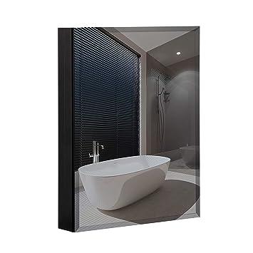 B C 23 X30 Aluminum Medicine Cabinet With Mirror Color Black Bathroom Mirror Cabinet With Adjustable Glass Shelves Storage Cabinet For Bathroom