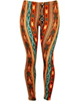 Soft and Comfortable Vertical Aztec Print Stretch Leggings - Teal and Orange
