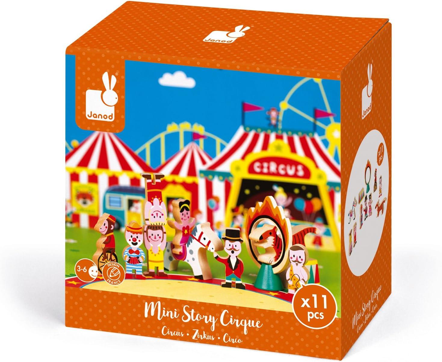 Janod Mini Story set de Figuras de madera, Circo (J08511): Amazon ...