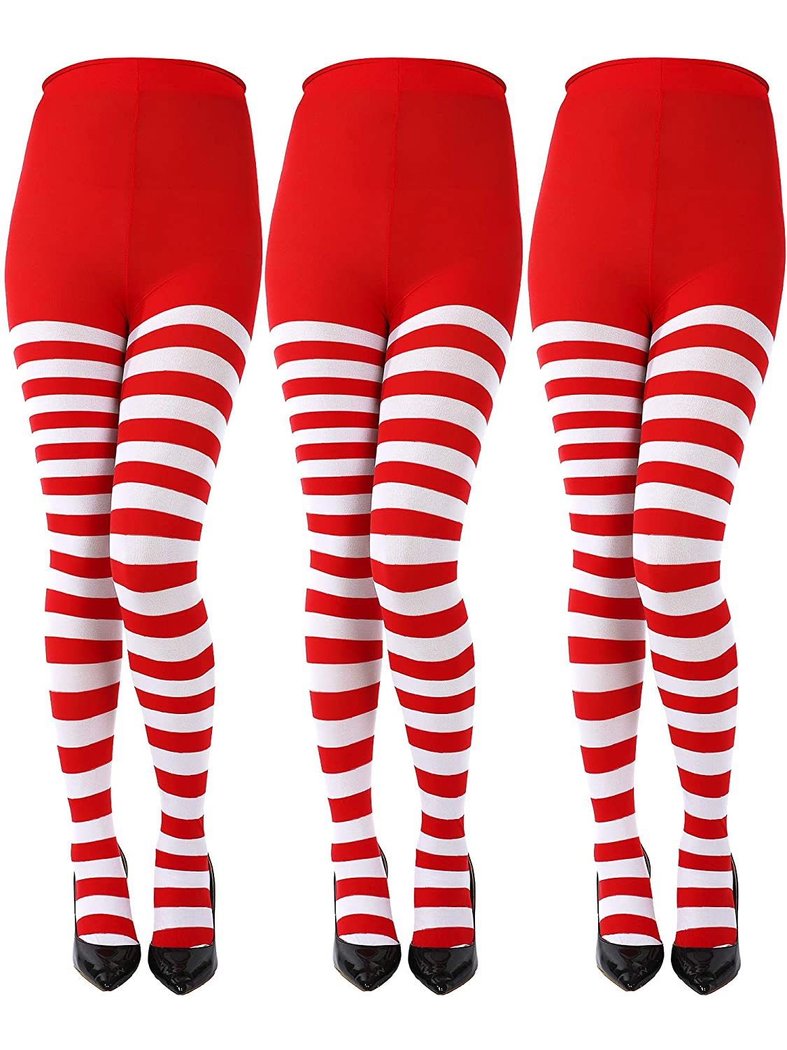 3 Pairs Christmas Full Length Striped Tights Thigh High Stocking for Women Christmas Saint Patrick's Day (3 Colors, Adult Size) Sumind