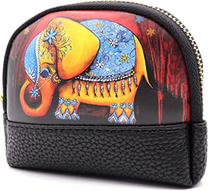 Elephant Coin Change Bag Zipper Small Purse Wallets with Keychain Elephant Auony Leather Coin Purse