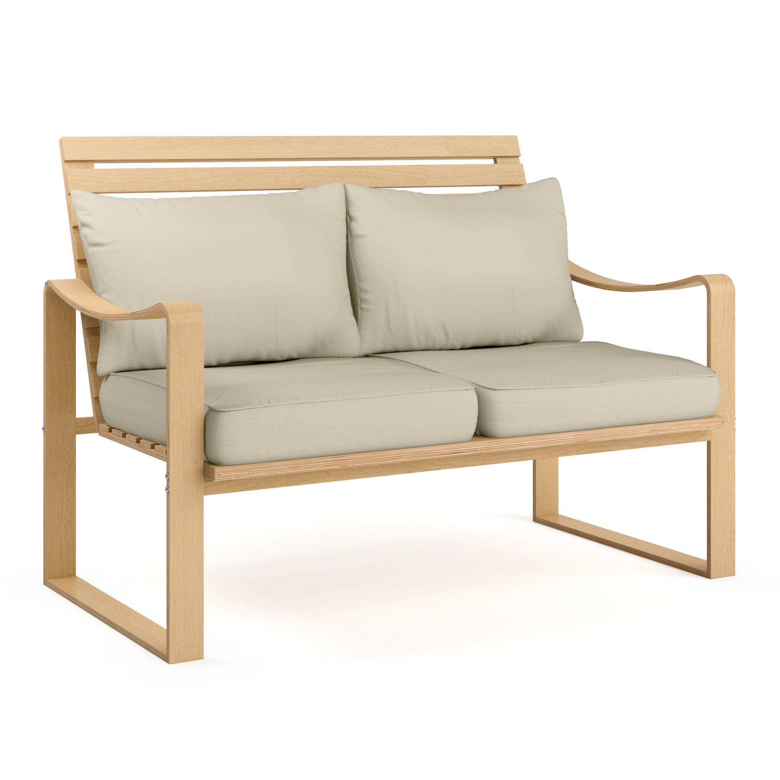 CorLiving LCQ-867-S Aquios Bentwood Sofa, Warm White