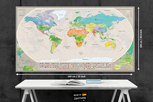 Stylish Living Mapa Mundo Gigante para Pared Mapamundi Mural Moderno Mapa Mundial Original XXL, Poster de Colores de Diseñador Planisferio de Decoración de Dormitorio, Salón 140x100 cm: Amazon.es: Hogar