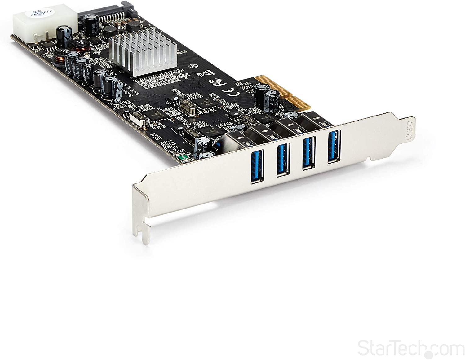 StarTech.com 4 Port USB 3.0 PCIe Card w/ 4 Dedicated 5Gbps Channels (USB 3.1 Gen 1) - UASP - SATA / LP4 Power - PCI Express Adapter Card (PEXUSB3S44V)