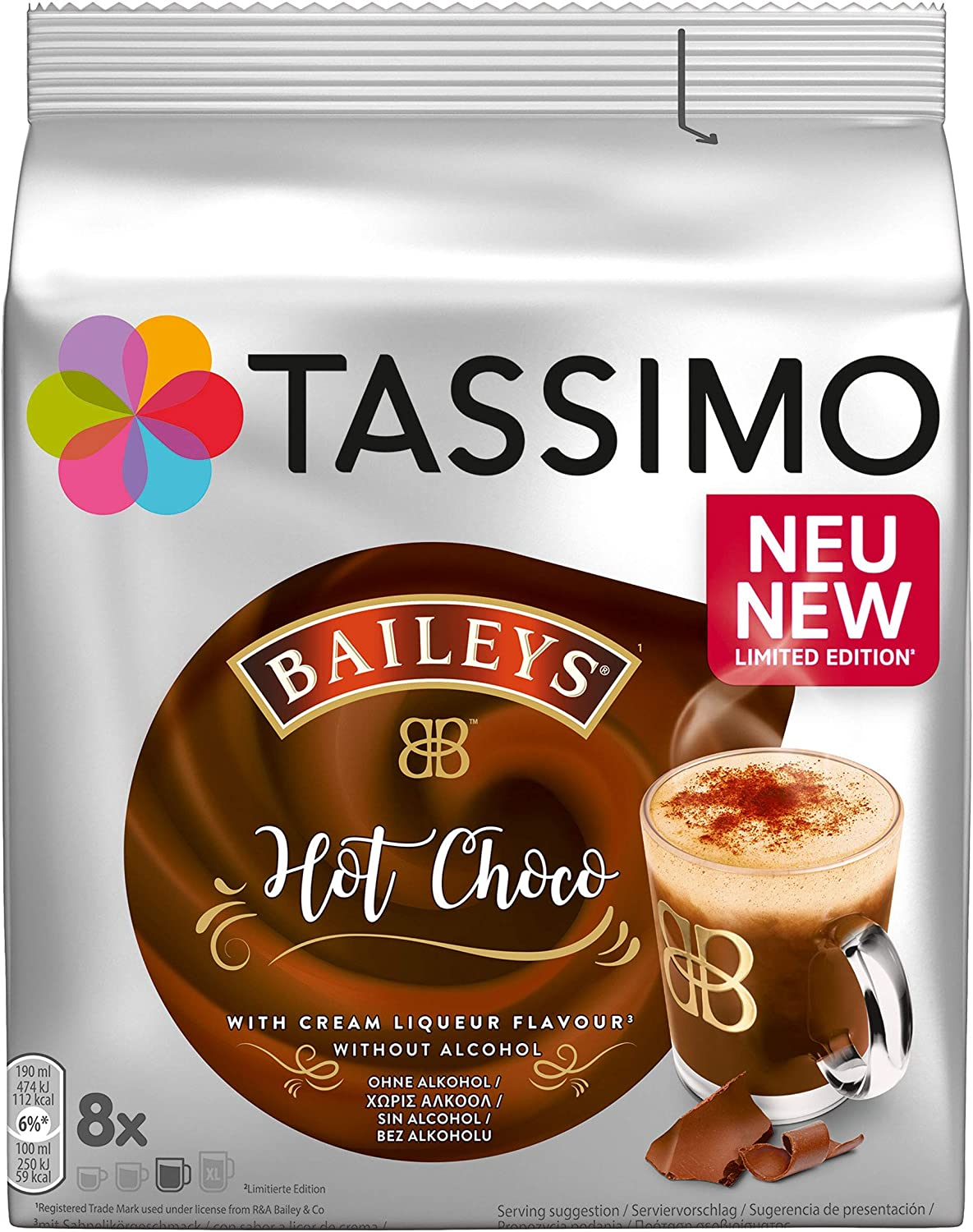 Tassimo Baileys Hot Chocolate Pods Pack Of 5 40 Pods In Total 40 Servings