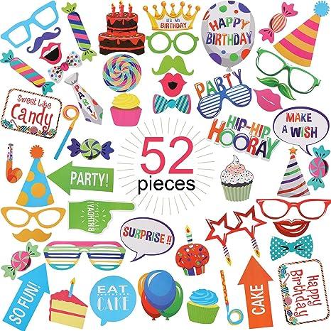 52 piezas de accesorios para cabina de fotos de cumpleaños ...