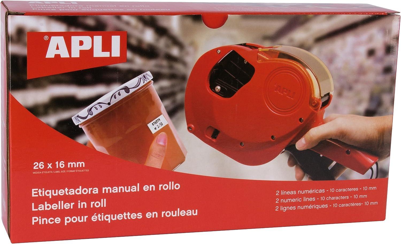 agipa Apli - Máquina etiquetadora 2 líneas 10 caracteres: Amazon.es: Oficina y papelería