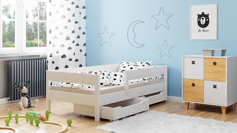 Legno in 4 colori e diverse dimensioni - Letto singolo per bambini con cassetti e materasso White 140x70