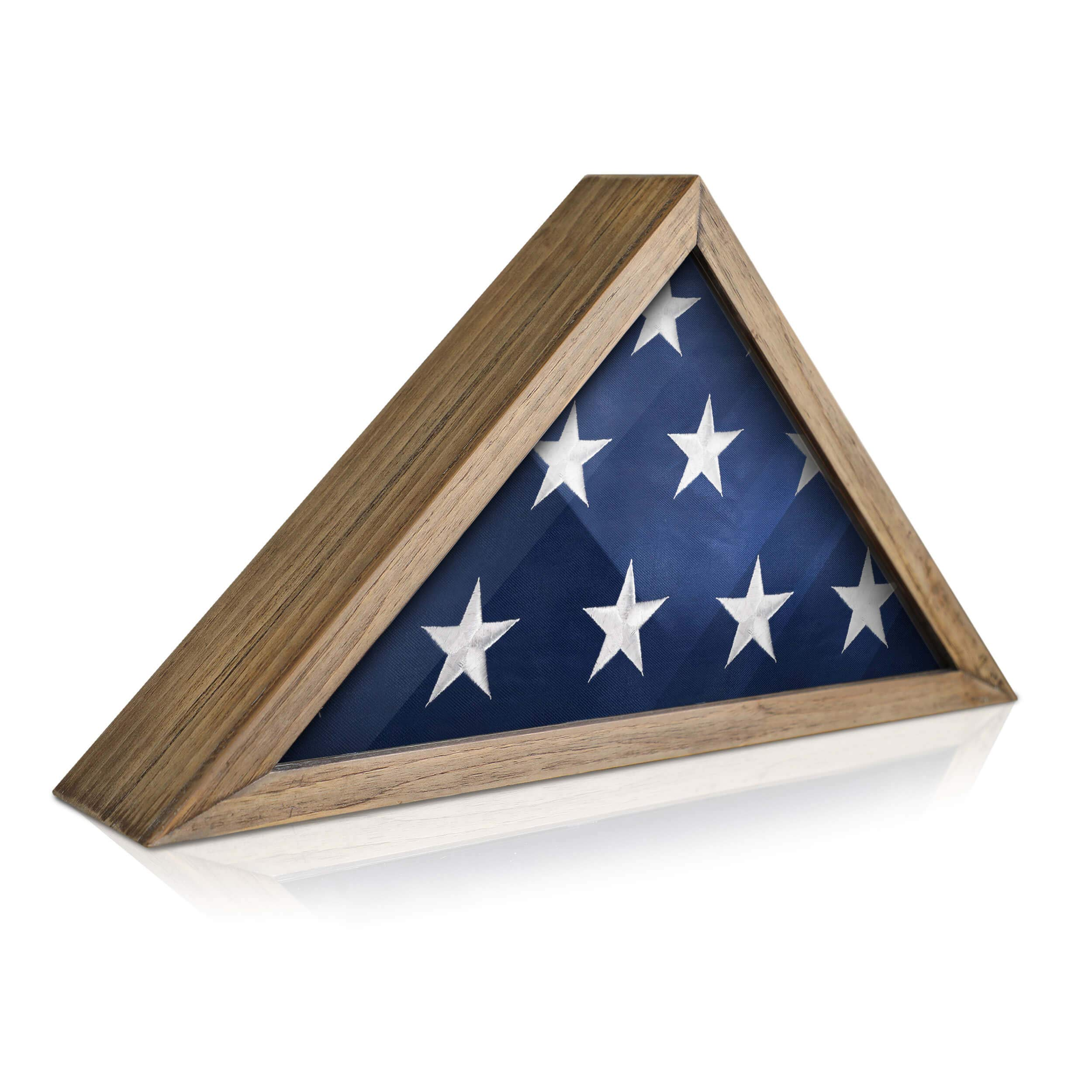 Rustic Flag Case - SOLID WOOD Military Flag Display Case for 9.5 x 5 American Veteran Burial Flag, Wall Mounted Burial Flag Frame, - Flag Shadow Box to display folded flag. (Weathered Wood) by HBCY Creations