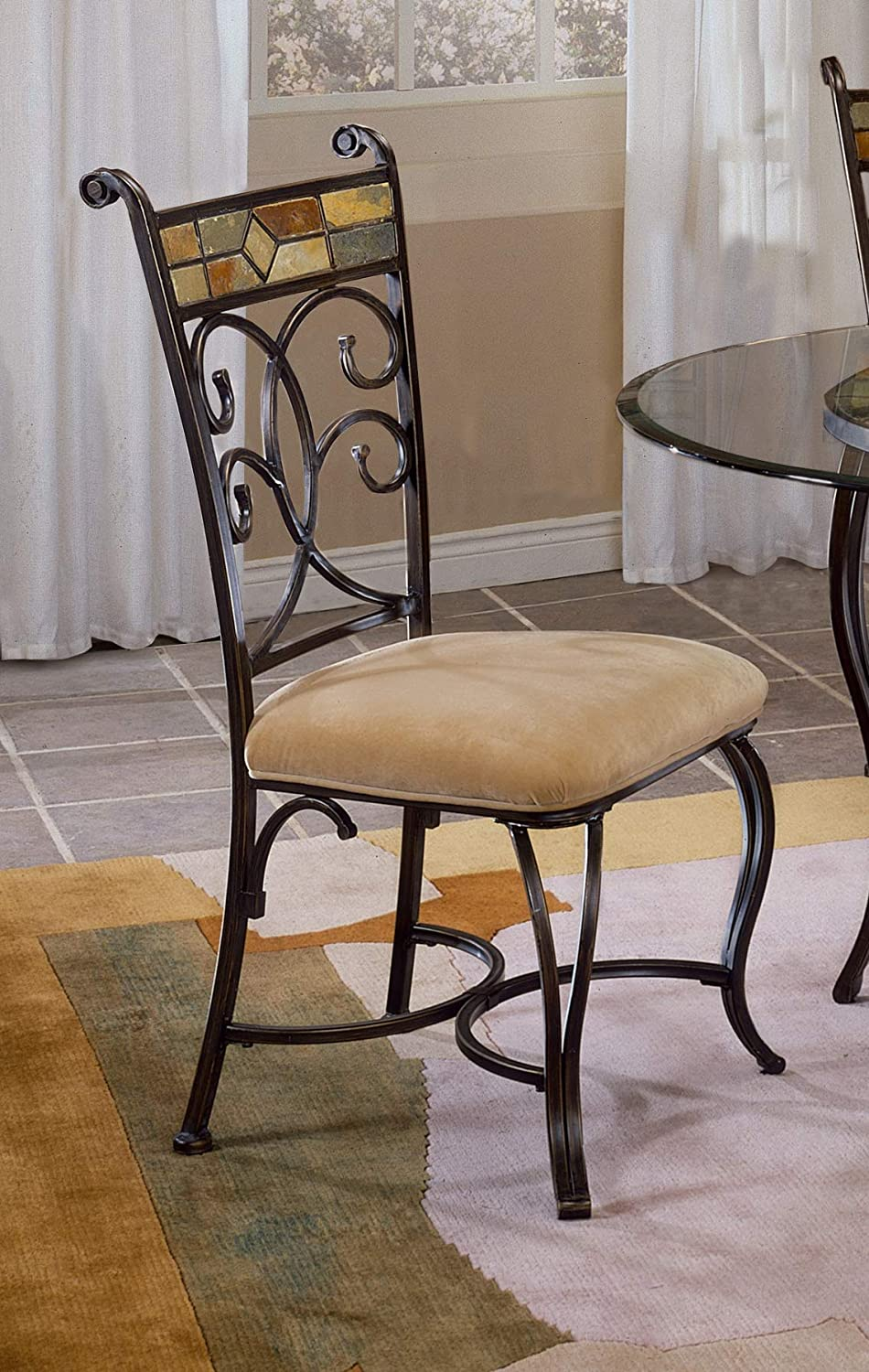 Hillsdale 4442-802 Pompeii Dining Chairs Set of 2 Black Gold//Slate Mosaic