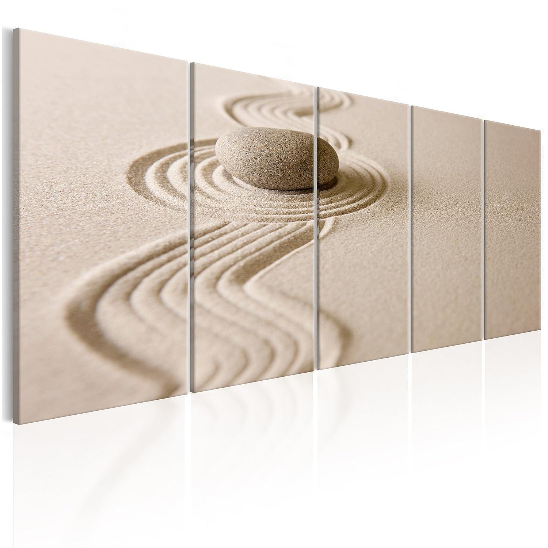 decomonkey Akustikbild Sand Steine 200x80 cm 5 Teilig Bilder Leinwandbilder Wandbilder XXL Schallschlucker Schallschutz Akustikdämmung Wandbild Deko leise Zen beige