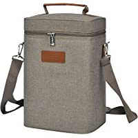 Kato Insulated Wine Tote Bag - 4 Bottle Travel Padded Wine/Champagne Cooler Carrier with Handle and Shoulder Strap, Great Wine Lover Gift