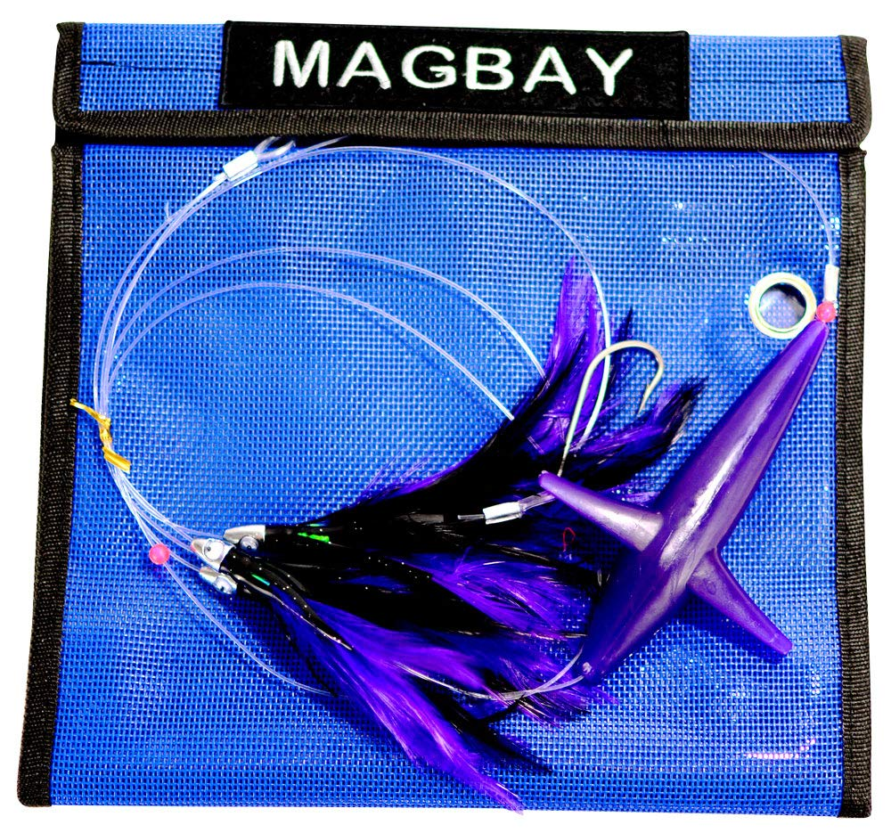 MagBay Lures Tuna Feather Daisy Chain with Bird Teaser - Purple & Black by MagBay Lures