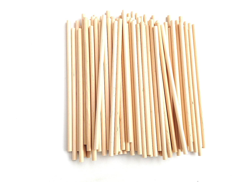 100 Palos redondo para manualidades, 5mmx15cm, palillos de maderas, HC Enterprise Madrid papel import sl