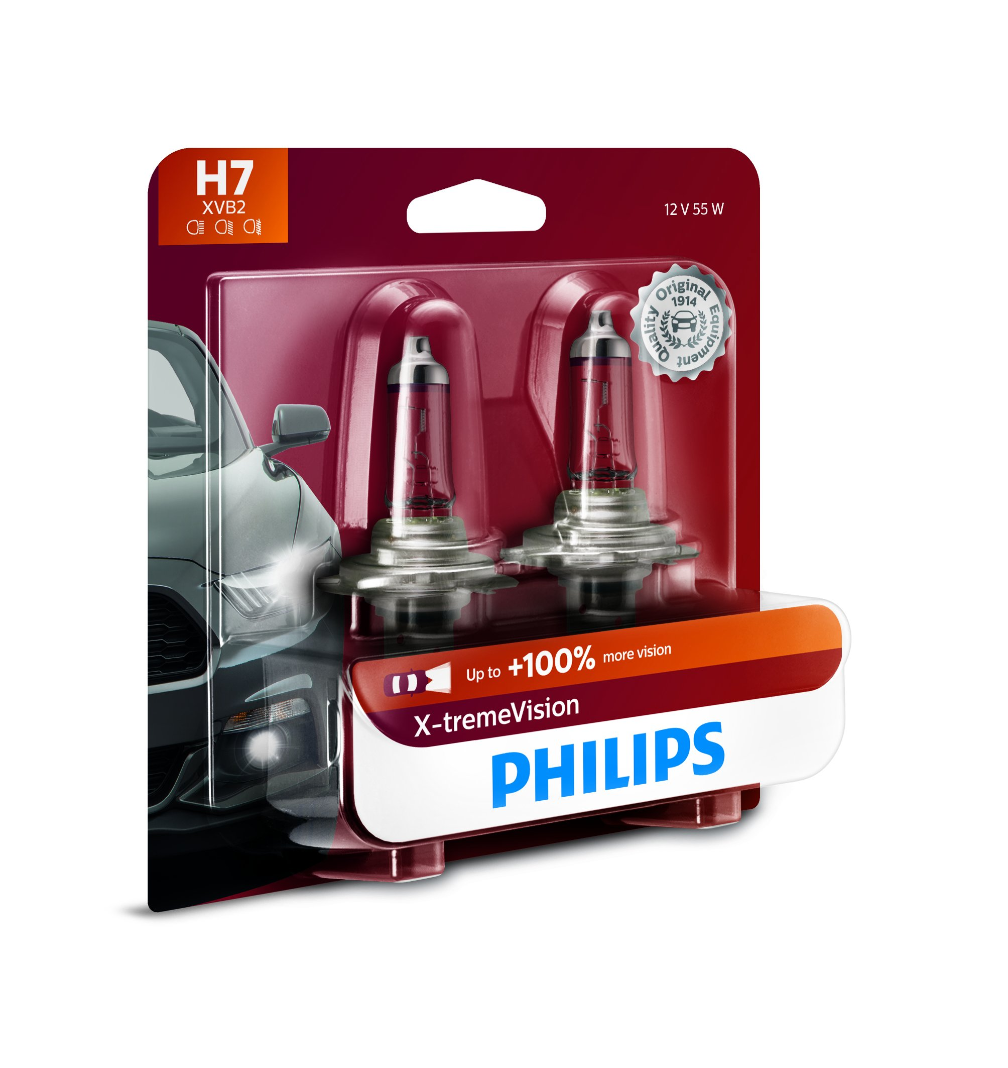 Philips H7 X-tremeVision Upgrade Headlight Bulb with up to 100% More Vision, 2 Pack by PHILIPS