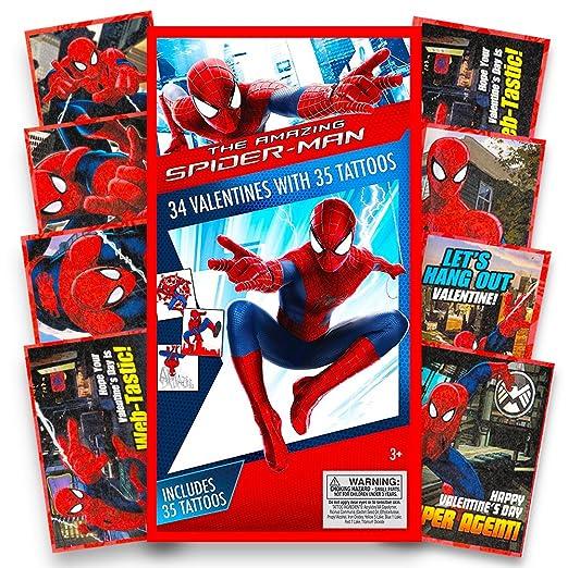 Spiderman Deluxe tarjetas de San Valentín con tatuajes – 34 Count ...